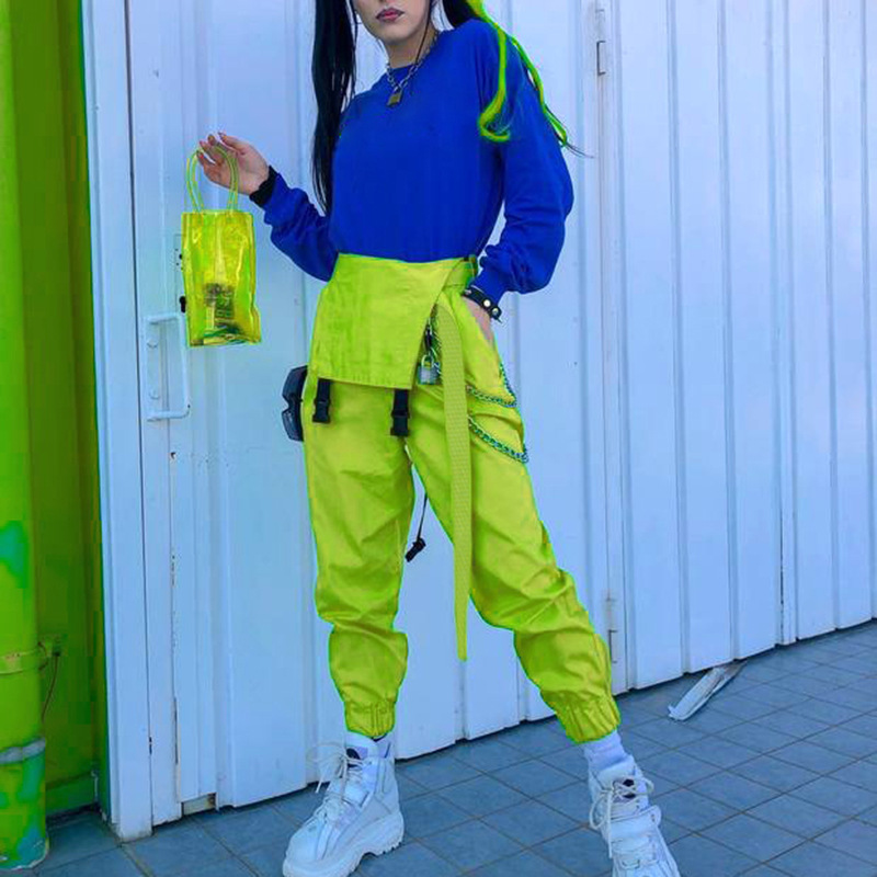 NCLAGEN Stylish jumpsuit Pockets Overalls Chains Buckles Women Suspenders Trousers Loose Streetwear Capris Female Casual Pants 29