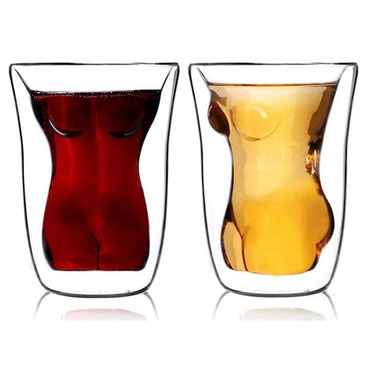 1 предмет Sexy Lady Для мужчин прочный двойной стенкой виски Очки вино выстрел Стекло большая грудь пиво чашка 150 мл