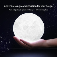 3D Magical Moon LED Night Light Moonlight Desk Lamp USB Rechargeable 3 Light Colors Stepless For