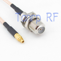 10pcs 6in MMCX male plug to F female jack RF adapter connector 15CM Pigtail coaxial jumper cable RG316 extension cord