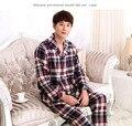 Inverno Homens primavera Outono Clássico Conjunto de Malha de Algodão de Manga Longa Pijamas pijama mujer invierno Home Wear Roupas Sleepwear