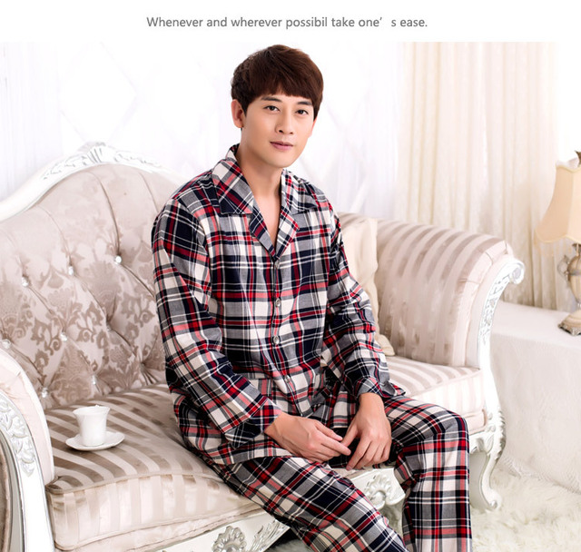 Spring Autumn Winter Men Classic Long Sleeve Pajamas Set Knit Cotton pijama mujer invierno Home Wear Clothes Sleepwear