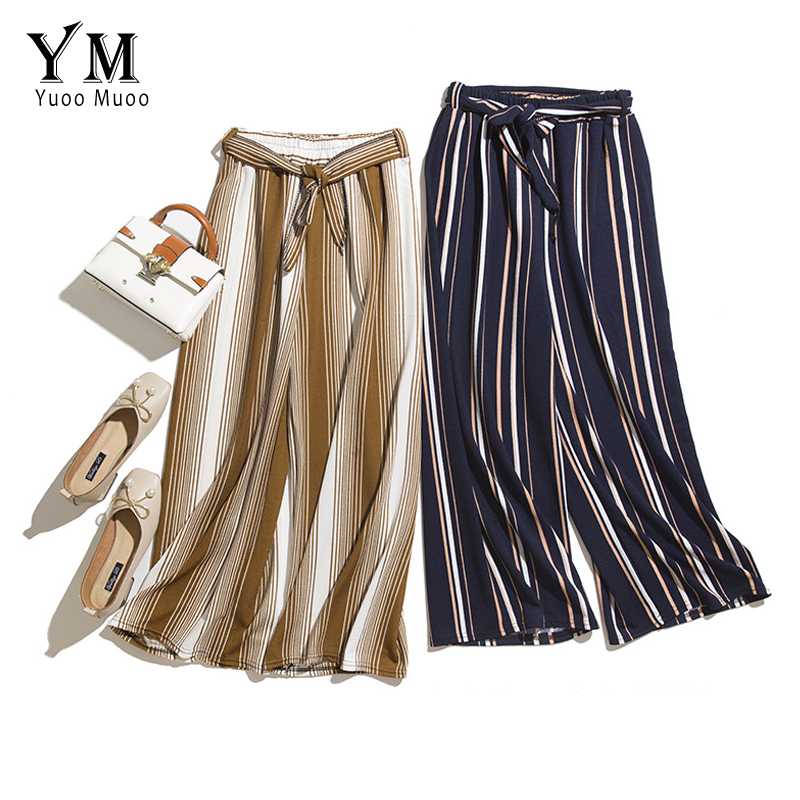 YuooMuoo Casual Elastic High Waist   Wide     Leg     Pants   Women 2019 Striped Europe Style Ankle-length   Pants   Summer Hot Trousers Women