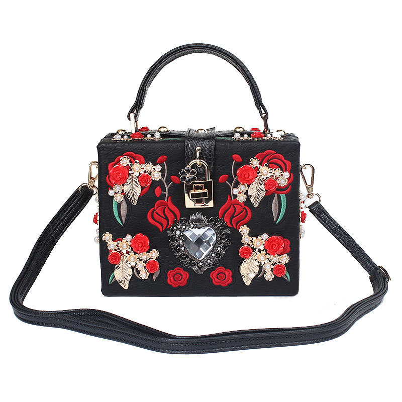 Luxury fashion design for high-quality evening bags Retro Embroidery flower PU flap woman brand Diamond heart handbags with lock high quality 2size butterfly flower forming follow board easy magic making template mould for fabric flower design tool