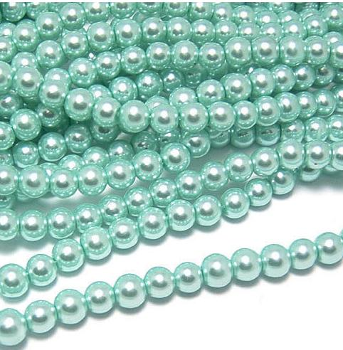 Free shipping~3mm~12mm H52 Aquamarine color Loose immitation Glass Pearl Beads