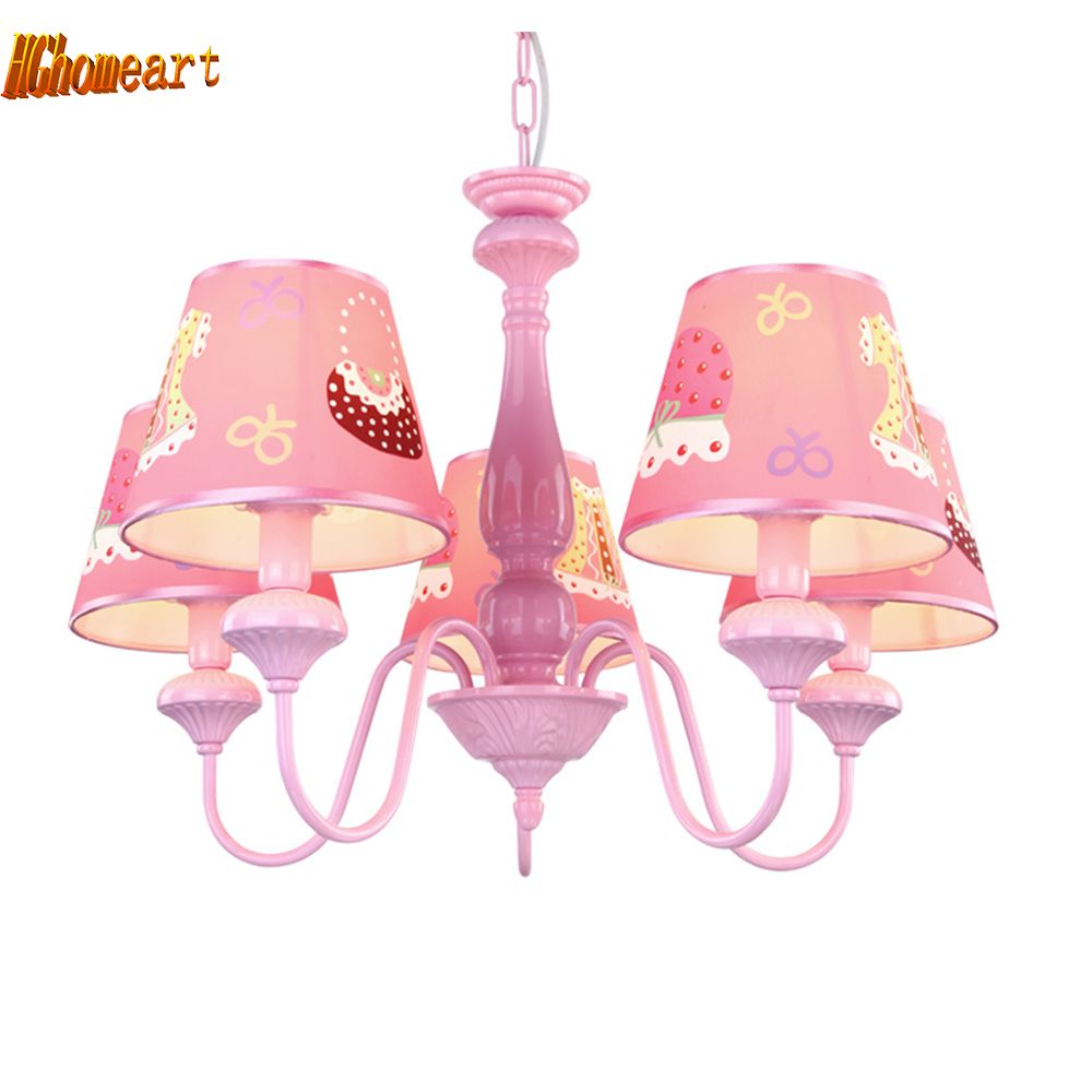 Cartoon Pink Led Chandelier Lamp E14 Light Bulb 110V-220V Home Lighting Kids Room Suspension Chandeliers for The Bedroom