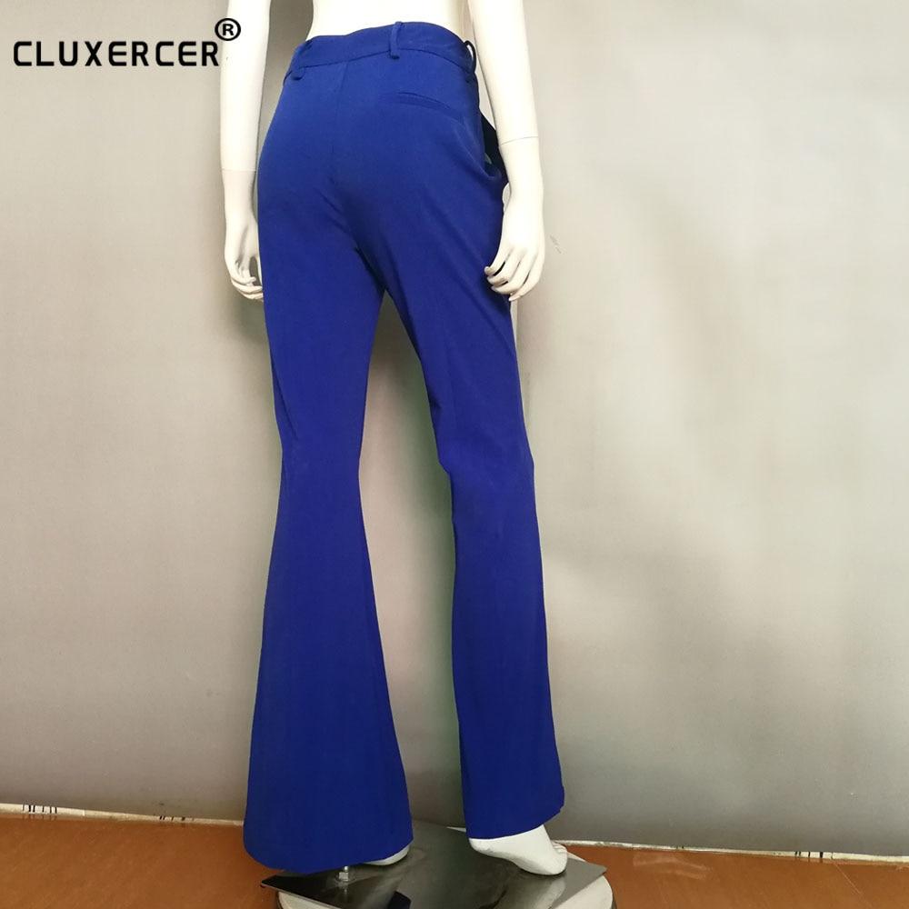 Pleine Ol Rue Jambe Flare Large bleu Longueur rose Noir Femmes Europen Mince Pantalon Iq0q1