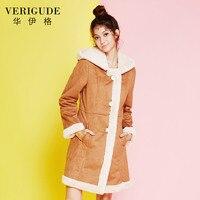 Veri Gude Women S Full Lined Faux Rabbit Fur Coat Slim Fit Faux Suede Hooded Coat