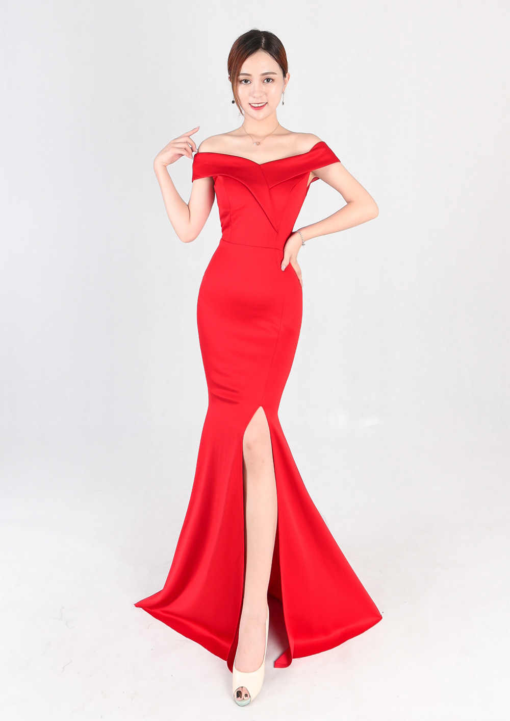 91f45a981bff8 New Simple Mermaid Evening Gown Elegant High Slit Sexy Boat Neck Off the  Shoulder Prom Dress Long Evening Party Gown Robe Soriee