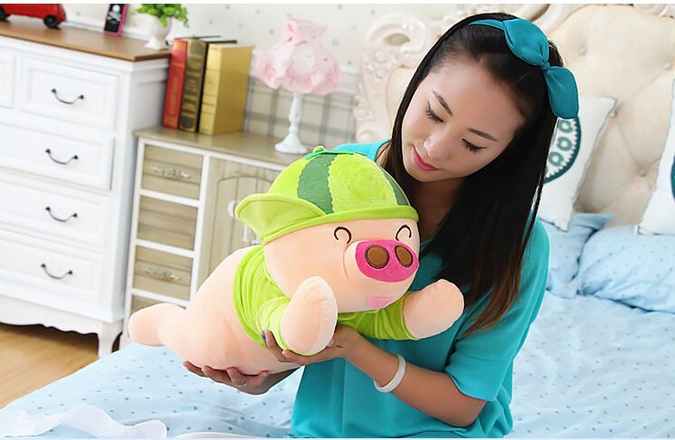 plush green pig toy stuffed lying watermelon pig doll gift about 60cm 0005 stuffed animal 88 cm plush lying tiger toy white tiger doll great gift w493