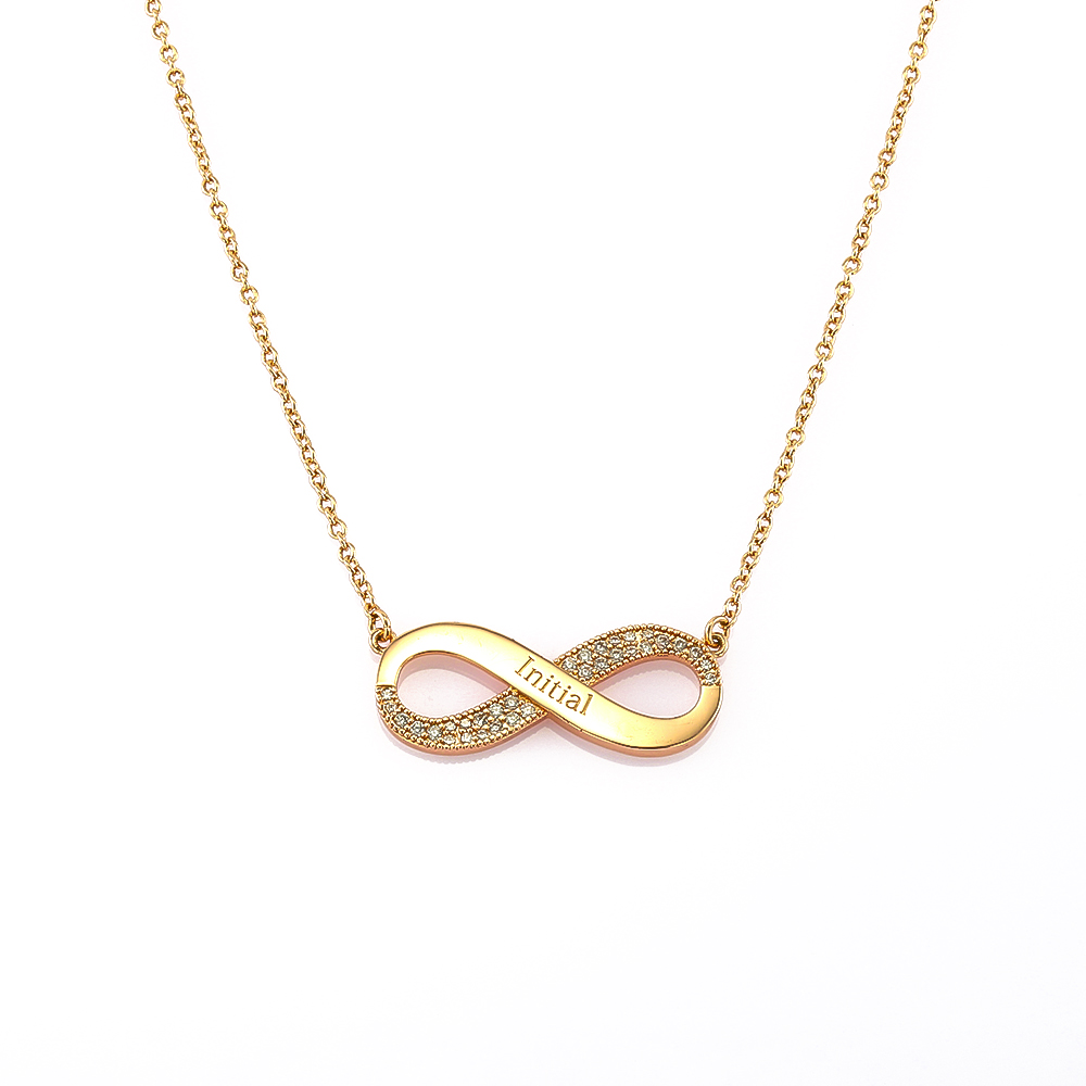Lateefah Romantic Stainless Steel Zirconia Custom Couple Necklace Personalized Infinity Pendant Necklace Jewelry Friend Gift in Pendant Necklaces from Jewelry Accessories