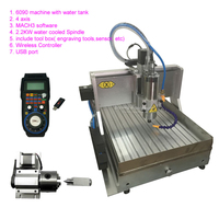 1.5KW 2.2KW 4 Axis CNC Router 6090 USB CNC Metal Milling Engraving Machine Water Tank MACH3 Handwheel Controller