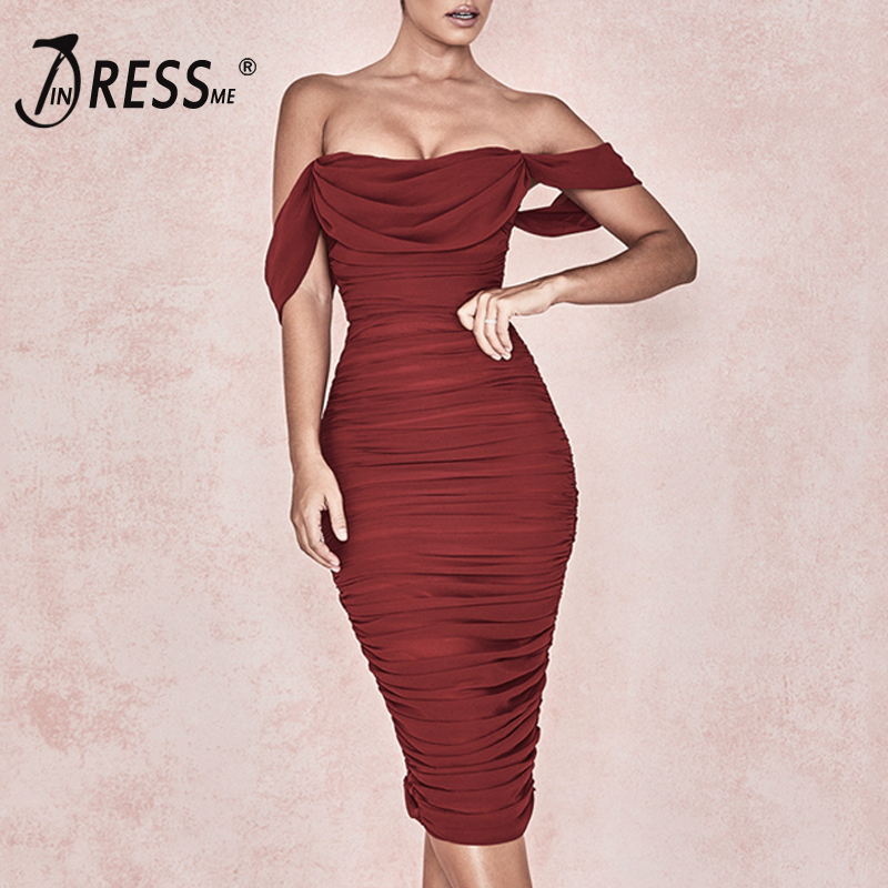 INDRESSME Women Sexy Off The Shoulder Slash Neck Bodycon Draped Midi Dress Backless Party Club Dress