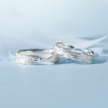 Silver  Feather Leaf Couple Ring Vintage Thai Silver Color Men Women Wedding Hippie Punk Biker Spinner Rotatable Rings simple style fashion feather wings couple ring punk biker jewelry silver black colors vintage rings for men women
