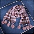Зимние горячие детские шарф длинный шаль теплый кашемир мужчин и женщины волосы младенца мяч решетки шарф Праздничные подарки бесплатная доставка A474