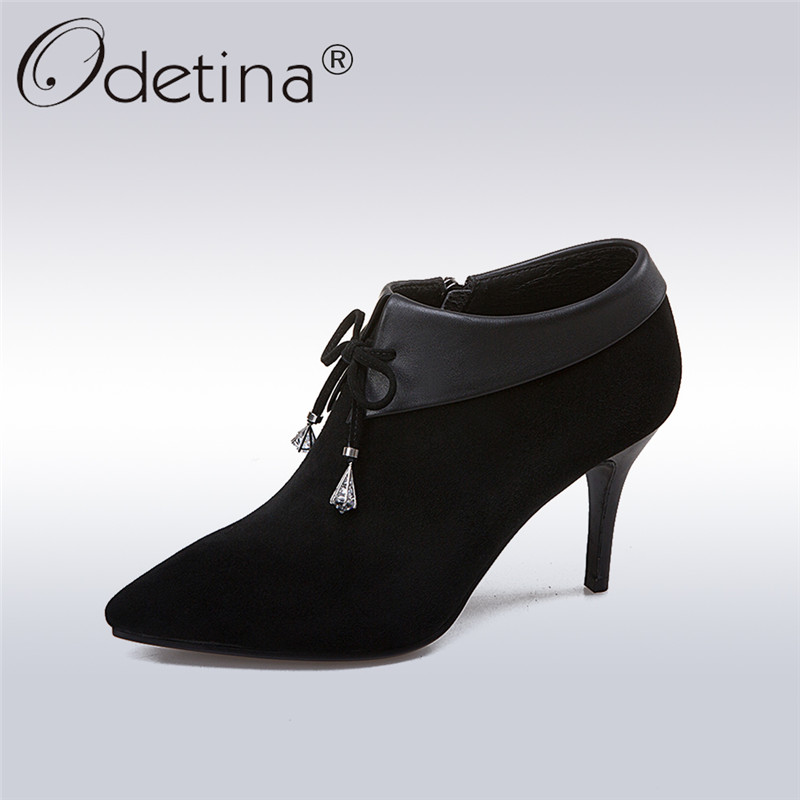 Odetina 2018 Fashion Genuine Leather Women Ankle Boots Pointed Toe Stilettos High Heel Sexy Lace Up Solid Black Crystal  ShoesOdetina 2018 Fashion Genuine Leather Women Ankle Boots Pointed Toe Stilettos High Heel Sexy Lace Up Solid Black Crystal  Shoes