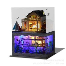 T-Yu Hawaii Villa DIY Dollhouse Miniature Model House With Light Cover Gift Decor Collection Toy(China)