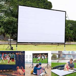 Projector Movie Theater Black Outdoor 4:3-Screen Foldable Home for 160 Anti-Crease