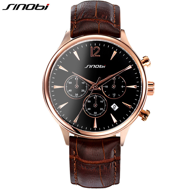 SINOBI Casual Mens Wrist Watches forTop Luxury Brand Fashion Sports Multifunction Males Geneva Quartz Clock Leather Montres 2016