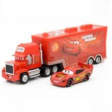 Disney Pixar Cars 2 ของเล่น 2pcs Lightning McQueen Mack รถบรรทุก King 1:55 Diecast โลหะผสมรุ่นตัวเลขของเล่นของขวัญเด็ก