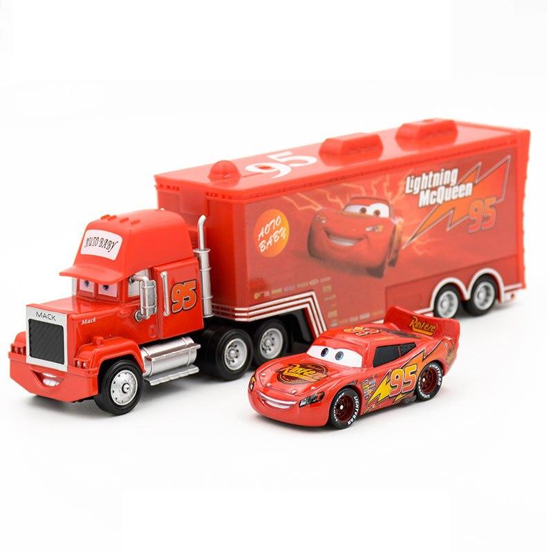 Disney Pixar Cars 2 juguetes 2 piezas Rayo McQueen camión Mack el rey 1:55 fundición de aleación de Metal modelo Juguetes regalos para los niños