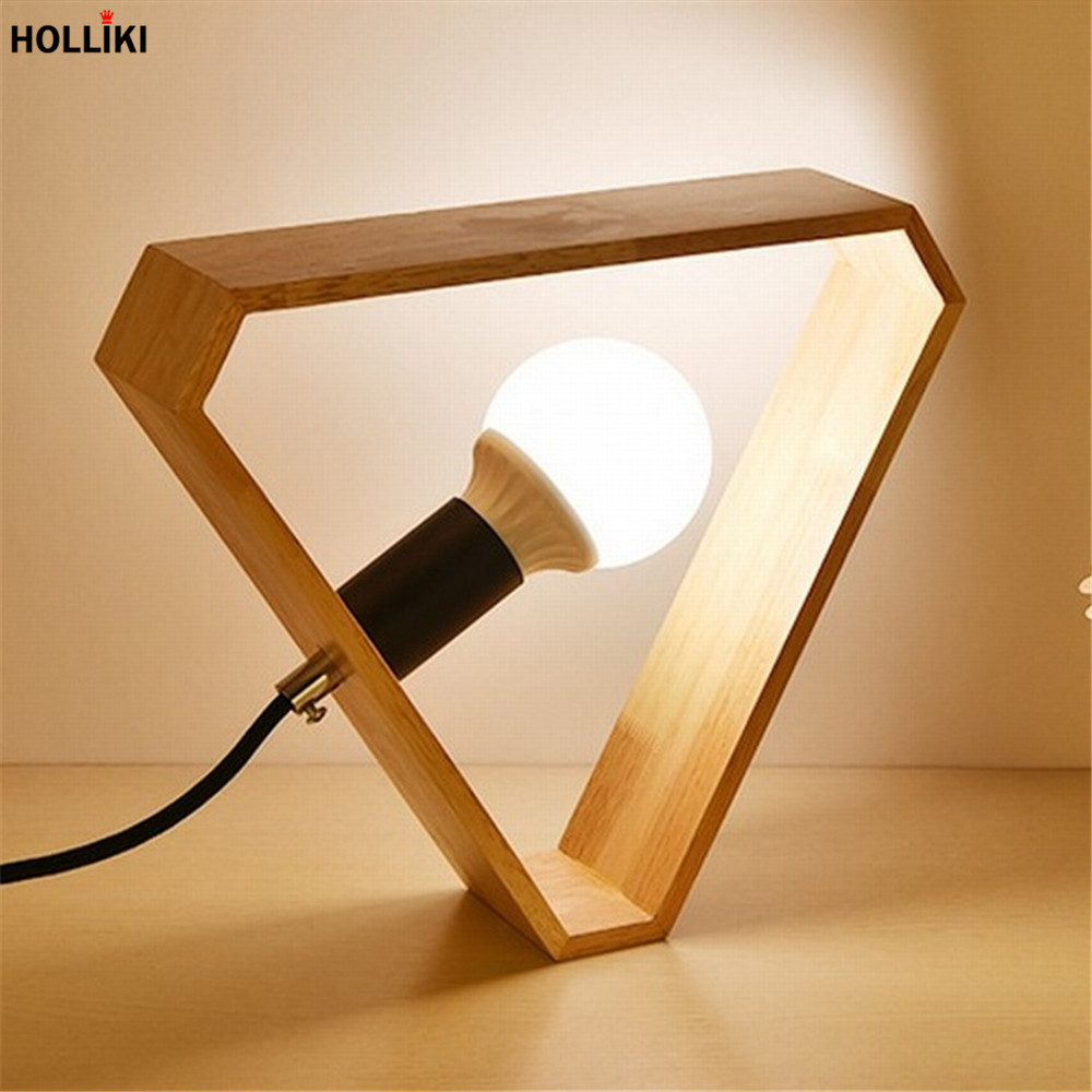 Led Wood Desk Table Lamp With Bulb Retro Classical Design