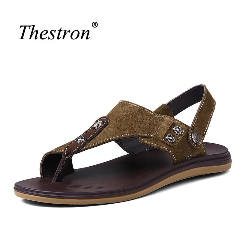 Men Sandals Large Size 38-46 Leather Sandals Flip Flops Brown Male Sandals Anti-slip Shoes Summer 2018