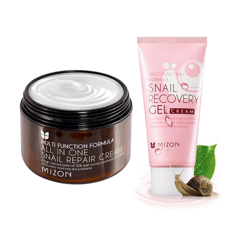 MIZON All In One Snail Cream 120ml (Super Size )+ Snail Gel Cream 45ml Facial Cream Face Skin Care Set Korean Cosmetics 2017 gift enmex special design wristwatch creative dial changing patterns simple fashion for young peoples quartz watches