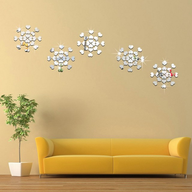 Modern 3D Heart Mosaic Tile Mirror Self adhensive Wall Sticker ...