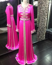 Moroccan Kaftan Fuchsia Satin Long Sleeves Hijab Muslim Evening Dresses with Lace Appliques Long Formal Evening Gown
