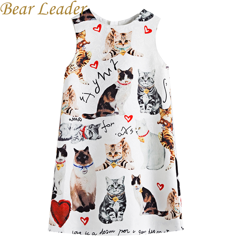 Bear Leader Girls Dress 2017 New Girls Clothes European And American Style Sleeveless Cats Printing Luxury Dress For 4-14 Years bear leader girls dress 2016 new european and american style long sleeve character lovely kitten princess dress children clothes