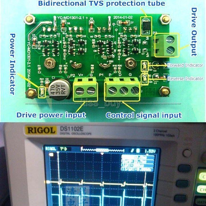 10A Peak 20A 350W DC Motor Driver Board Module H-Bridge MOSFET 5V-35V 12v 24v dc