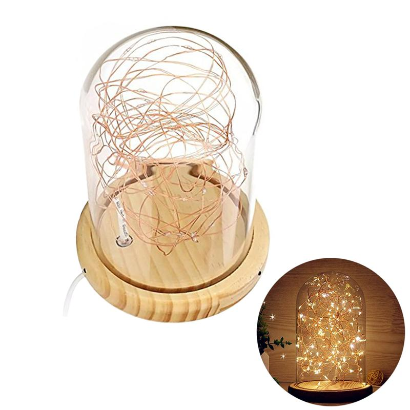 Portable Wooden Base USB Glass Dome Lamp Bell Jar Display Dome Bedside Table Lamp With LED Warm Fairy Starry String Lights цены