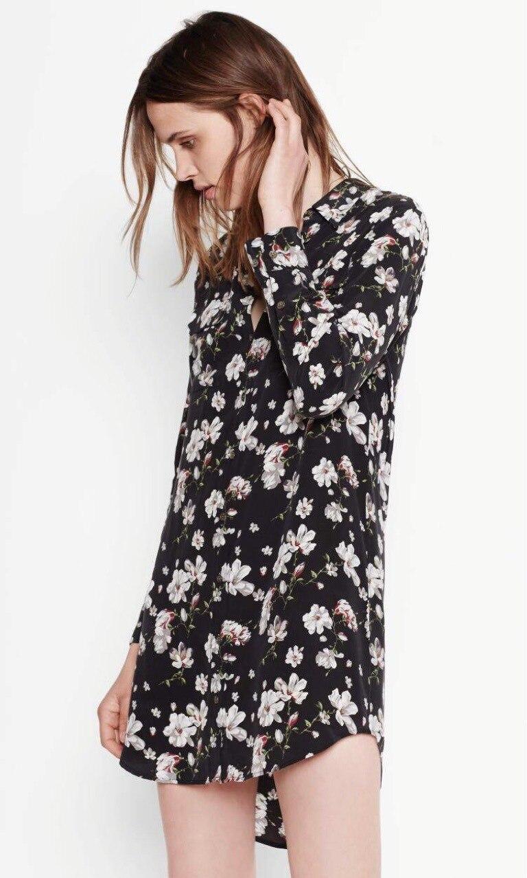 EQ 100% silk magnolia white flowers print ladies long sleeve long blouses women dress shirt sprint autumn