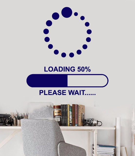 Dot Circle Wall Art Stickers Quote Gamer Loading Download Wait Wall Decals  Boys Bedroom Decoration Removable