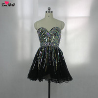 TaoHill Cocktail Dress School Prom A line Sweetheart Neck Beads and Crystals Black Cocktail Dresses Mini Length for Party