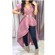2019 Women Irregular Short Sleeve Ruffles Blouse Solid V-Neck Sexy Long Blouse Asymmetric Hem Slim Summer Top недорго, оригинальная цена
