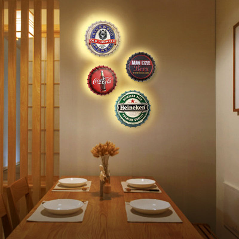 Personality creative retro beer cover LED wall lamp living room bedside lamp restaurant bar cafe shop wall lamp