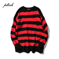 2018 New Ripped Stripe Knit Sweaters Men Hip Hop Hole Casual Pullover Sweater Male Fashion Loose Long Sleeve Sweaters Red Black