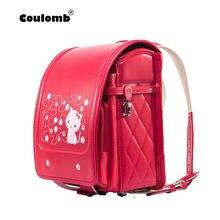 9f1e15e85baf Кулоновского красное платье принцессы рюкзак для девочки школьная сумка Cat  Засов характер ортопедические японский Randoseru PU .