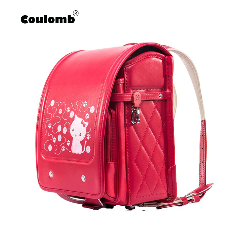 Coulomb Red Princess Backpack For Girl School Bag Cat Hasp Character Orthopedic Japanese Randoseru PU Kid Backpacks 2018 New