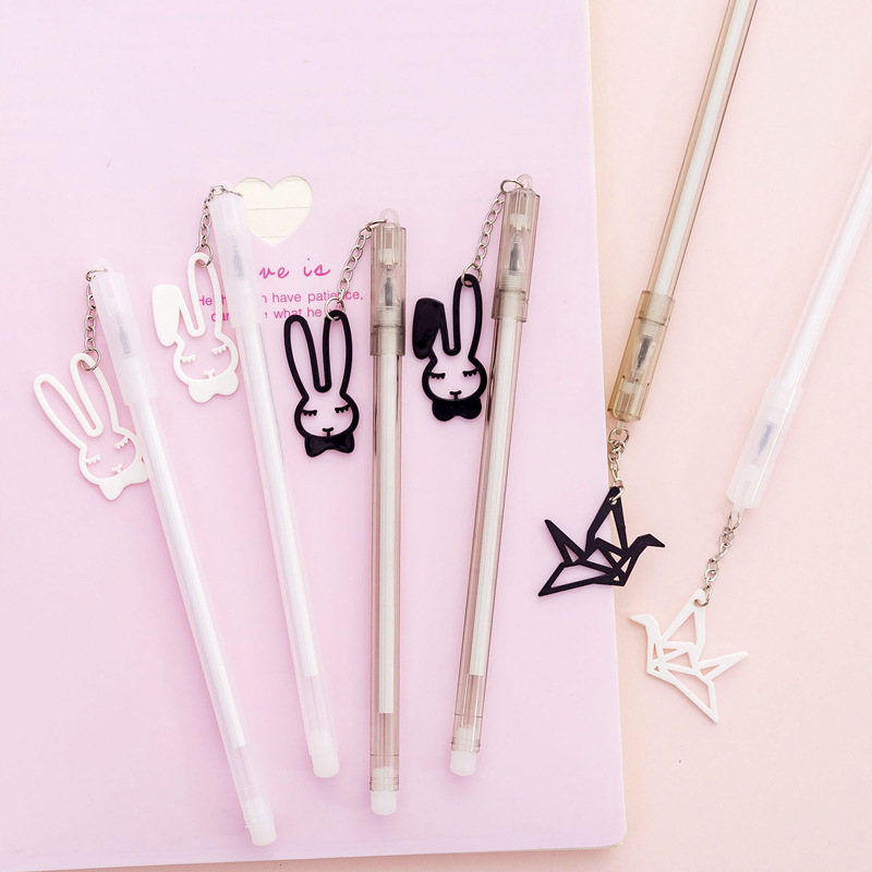 48 pcs/lot Thousand paper crane Rabbit Gel Pen Cute 0.38 mm black ink Signature Pen Escolar School Office writing Supplies48 pcs/lot Thousand paper crane Rabbit Gel Pen Cute 0.38 mm black ink Signature Pen Escolar School Office writing Supplies