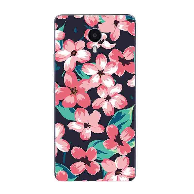 Para Meizu M1 M2 M3 M5 nota teléfono caso para Meilan M3 nota Pro para Meizu M3 MAX cubierta TPU Coque diseño de floración pintado