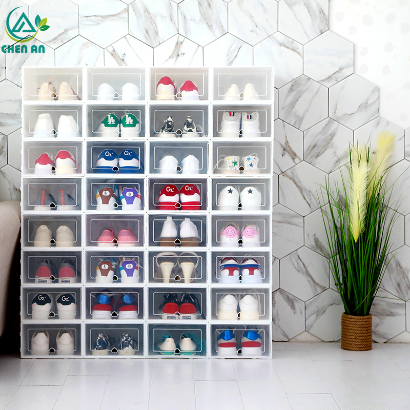 Image 5 - 6pcs Foldable Plastic Shoe Boxes Universal Home Organizer Stackable Storage Drawer Transparent Home Holding Box-in Storage Boxes & Bins from Home & Garden