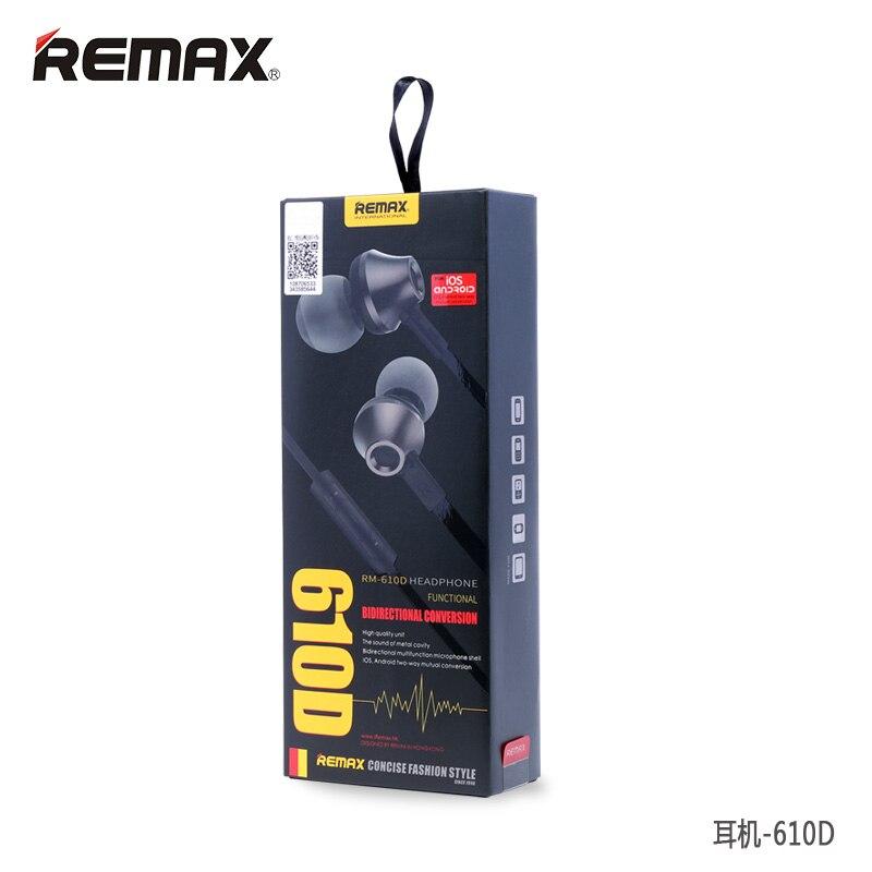 Remax RM 610D musique Stéréo in-ear écouteurs Base Moteur Haute Performance écouteurs avec Microphone et Le Contrôle En Ligne écouteurs