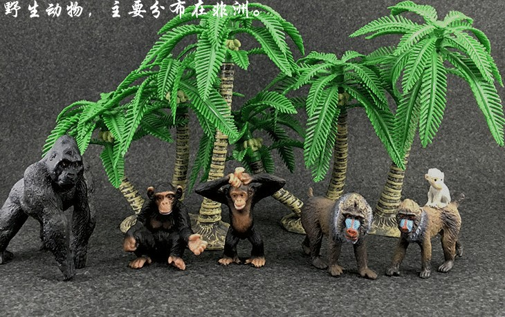 pvc figure  Animal simulation Model Children toy zoo animalsbacking large chimpanzee monkey baboon diamond gift 6monkeys+2trees купить