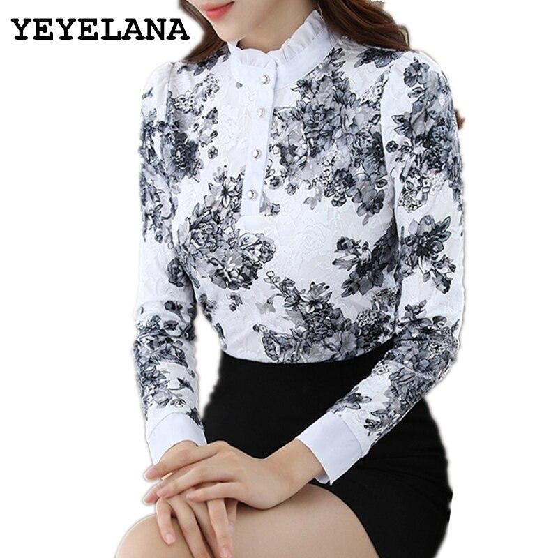 Ypaupiana femmes Blouses 2019 nouveau printemps Style coréen mode fleur Pring à manches longues dentelle Blouse dames élégantes chemises A005