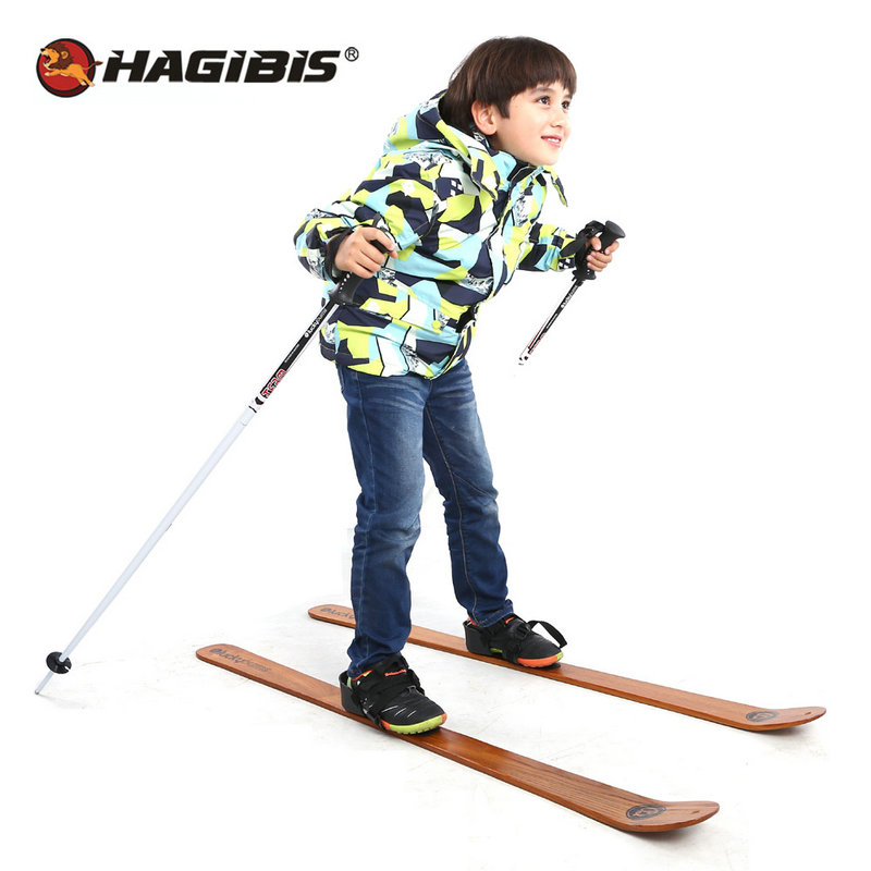 HAGIBIS Beginner Snow Skis and Poles Willow Wooden Snowboard  110cm/130cm x 7cm, outdoor snow sled