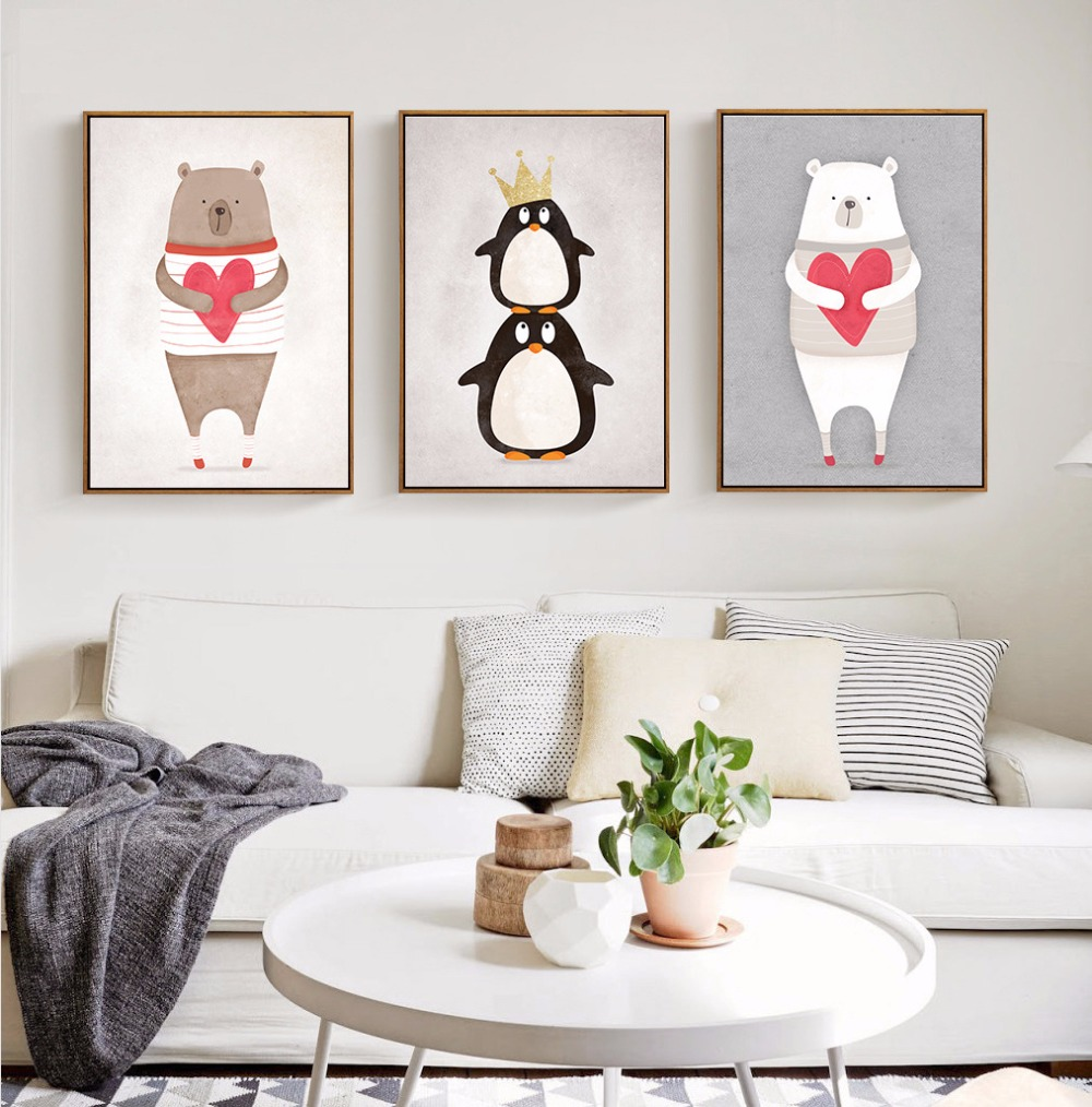 Modern nordic kawaii animals bear hippo penguins painting poster print wall art picture canvas - Modern kids wall decor ...