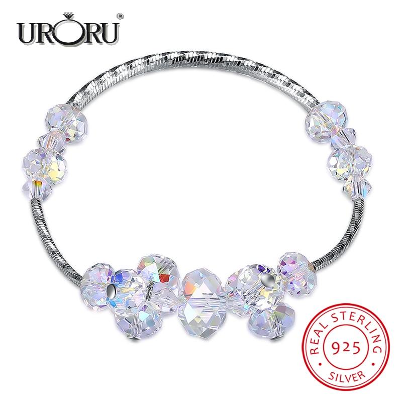URORU Bracelet, Irregular Crystal Shape Sparkling 100% 925 Sterling Silver Bracelet for Women Valentine's Day Gift Jewelry stylish letter irregular shape cuff bracelet for women